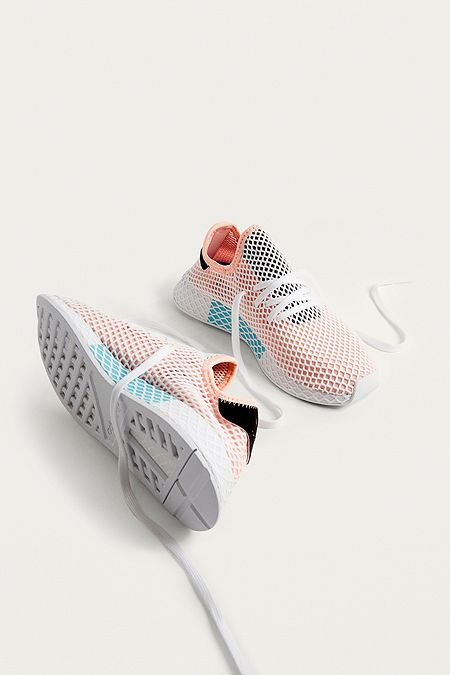 adidas Originals Deerupt Peach and White Running Trainers