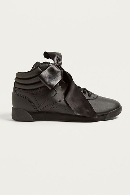 68f3ddef9ae Reebok Freestyle Hi Black Satin Bow Trainers