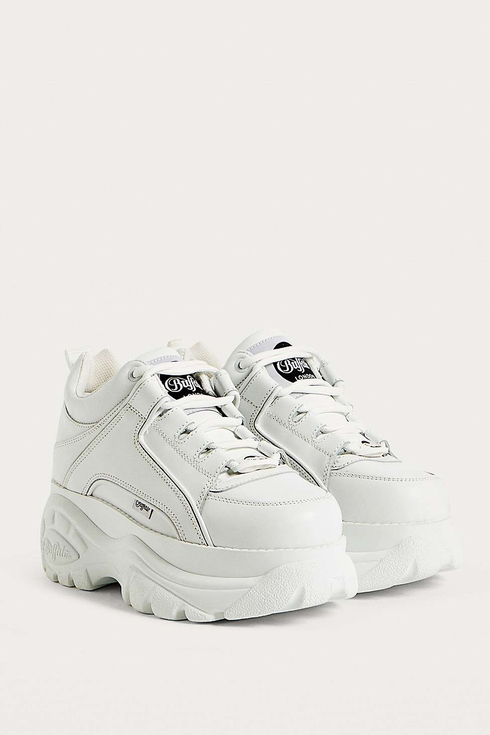 Buffalo White Leather Chunky Platform Trainers Urban Outfitters Uk
