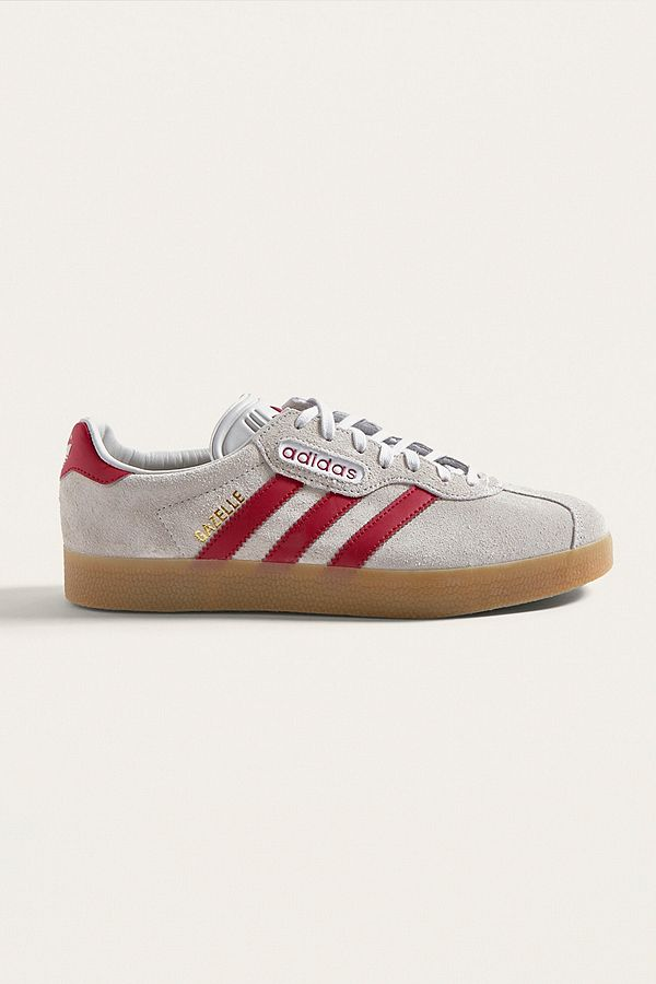 adidas Gazelle Super Grey and Red Trainers