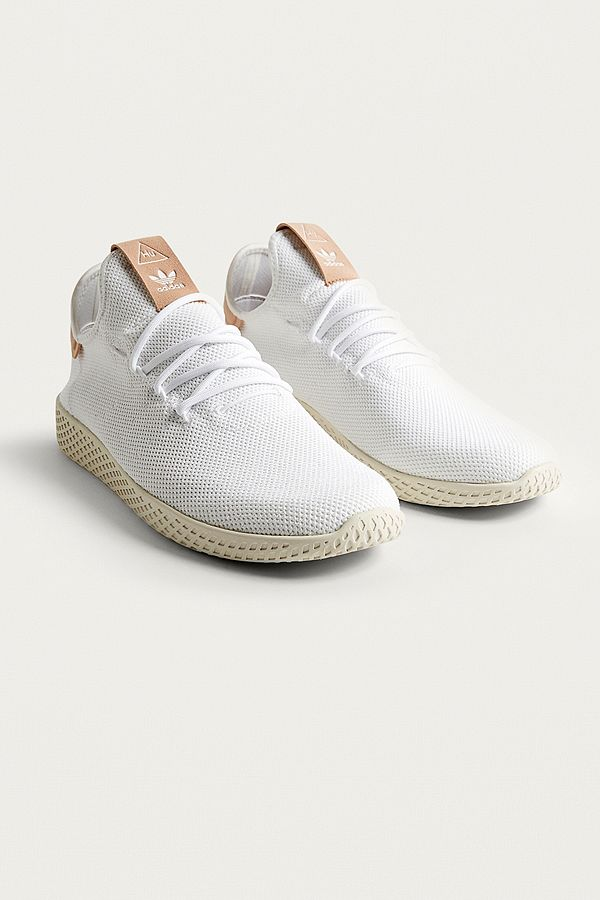 Slide View 1 adidas Pharrell Williams White Tennis HU Trainers
