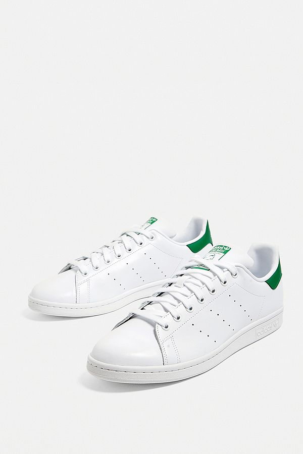 Slide View  1  adidas Stan Smith White and Green Trainers f1d18958d3