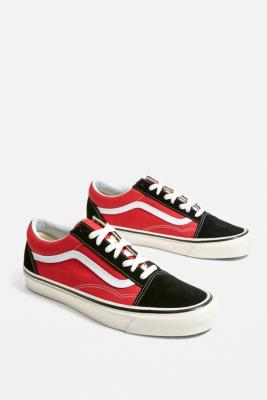 Vans Old Skool Anaheim Factory Black and Red Trainers - red UK 9 at Urban Outfitters