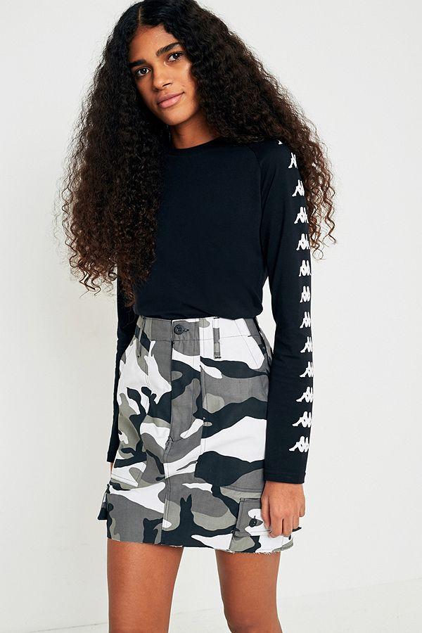 Urban Renewal Vintage Customised Black And White Camo Mini Skirt
