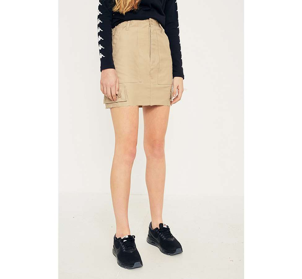 Slide View: 2: Urban Renewal Vintage Customised Khaki Military Cargo Skirt
