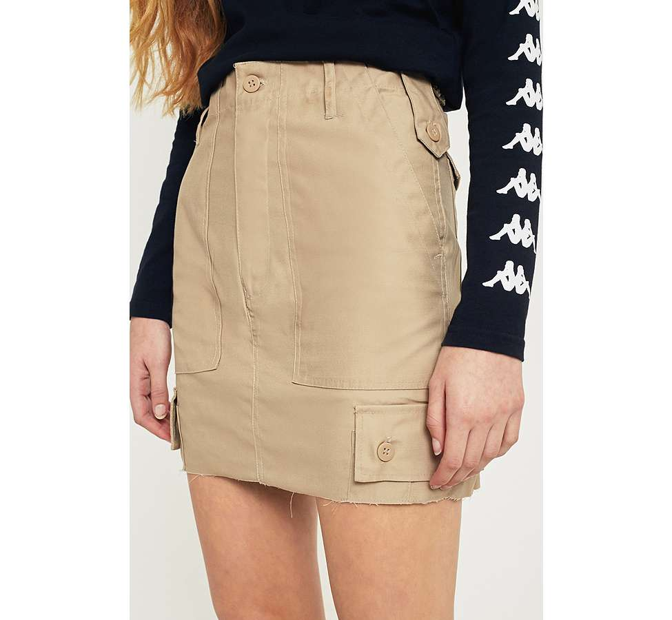 Slide View: 4: Urban Renewal Vintage Customised Khaki Military Cargo Skirt