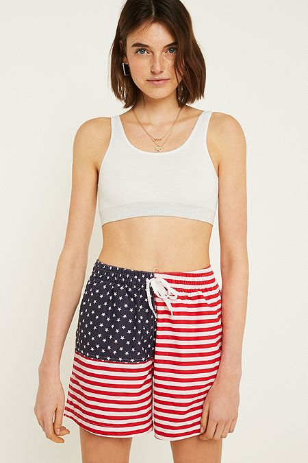 Urban Renewal Vintage Originals Chubbies Usa Flag Print Drawstring Swim Shorts