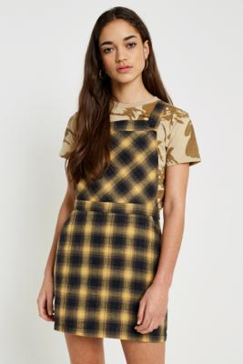 Urban Renewal Vintage Remnants Yellow Checked Pinafore Dress by Urban Outfitters