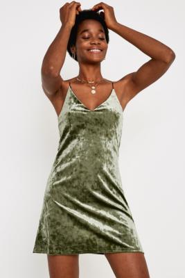 Urban Renewal Remnants Green Velvet Cami Dress - Female First Shopping 4bda7f6a6