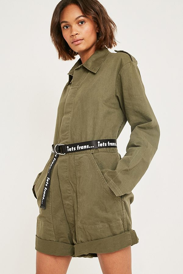Slide View: 3: Urban Renewal Vintage Customised Military Green Short Boilersuit