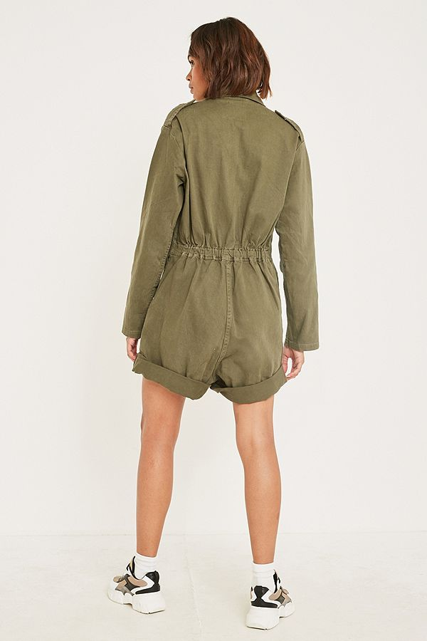 Slide View: 4: Urban Renewal Vintage Customised Military Green Short Boilersuit