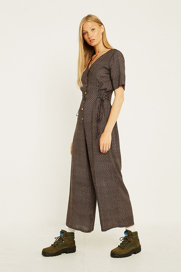 Slide View: 1: Urban Renewal Vintage Remnants Crosshatch Jumpsuit