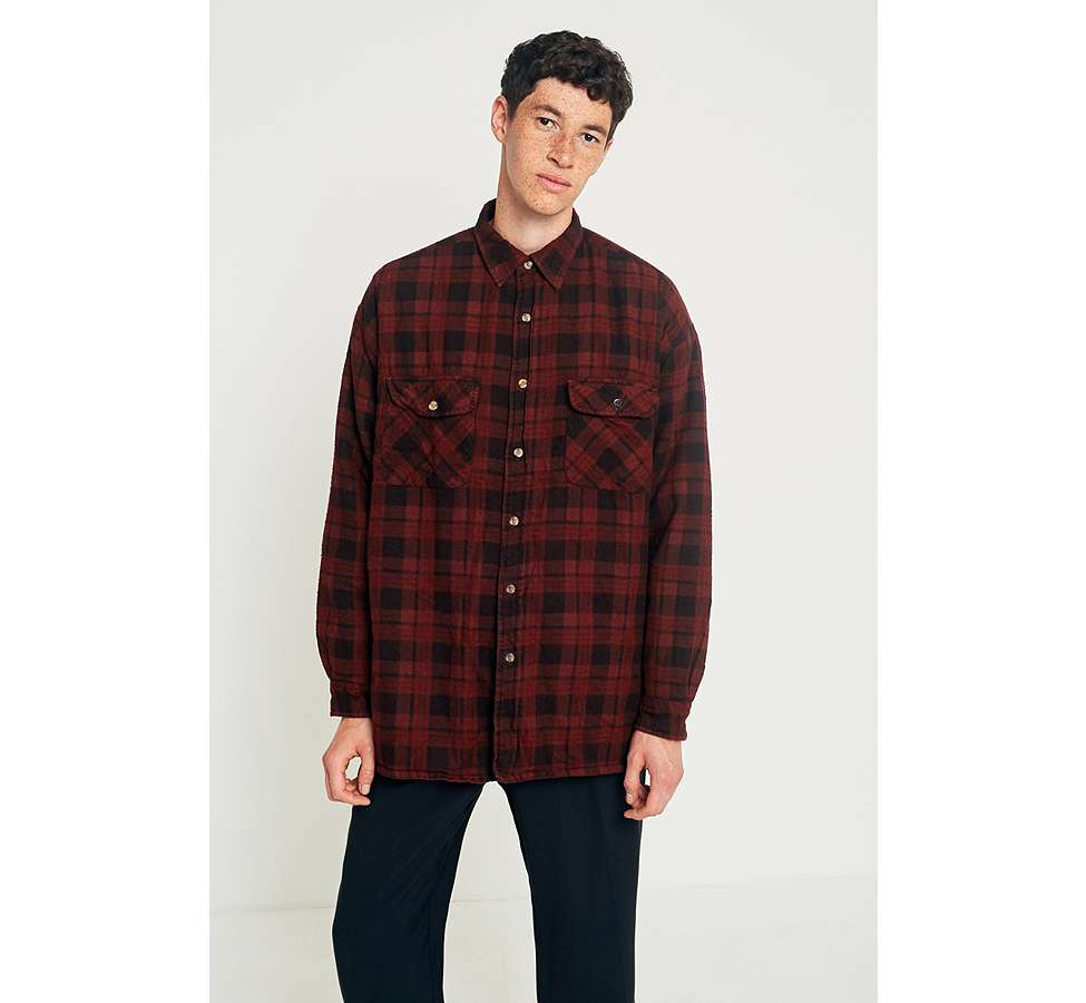 Slide View: 2: Urban Renewal Vintage Customised Burgundy Overdyed Padded Flannel Shirt