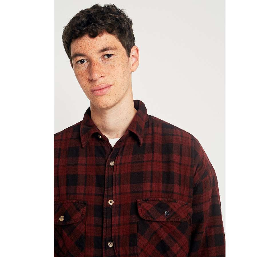 Slide View: 3: Urban Renewal Vintage Customised Burgundy Overdyed Padded Flannel Shirt