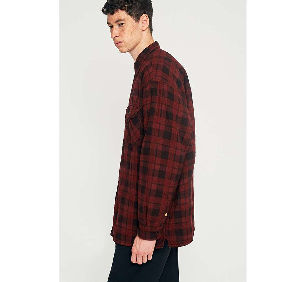 Slide View: 4: Urban Renewal Vintage Customised Burgundy Overdyed Padded Flannel Shirt