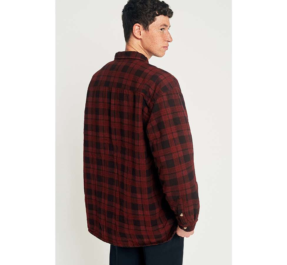 Slide View: 5: Urban Renewal Vintage Customised Burgundy Overdyed Padded Flannel Shirt