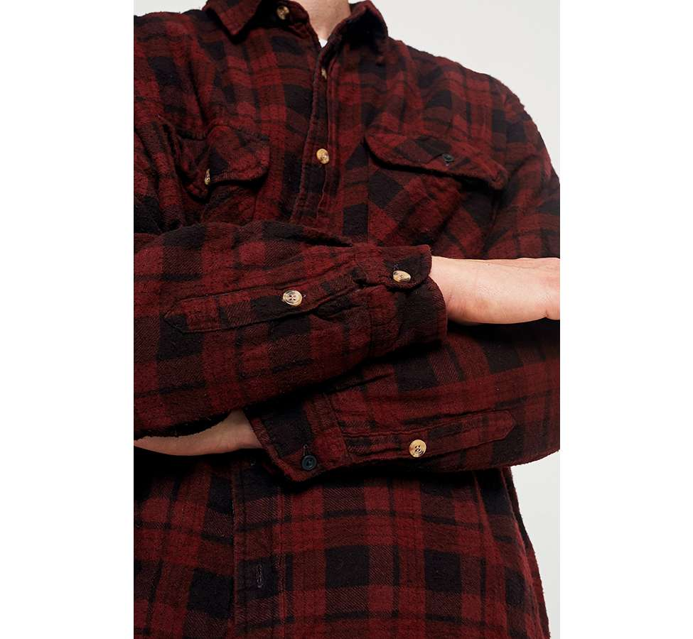Slide View: 6: Urban Renewal Vintage Customised Burgundy Overdyed Padded Flannel Shirt
