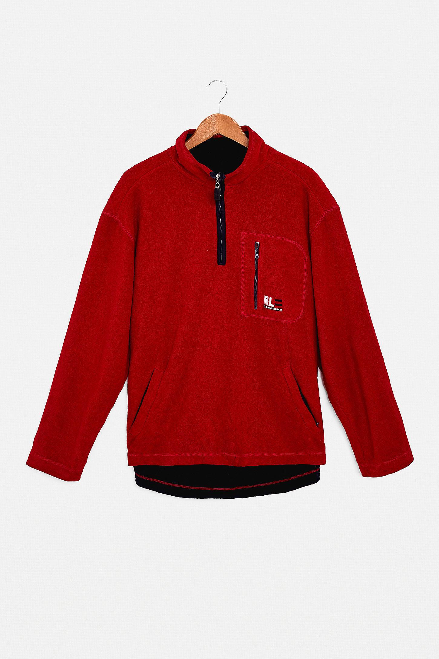 Urban Renewal One Of A Kind Ralph Lauren Fleece Half Zip Sweatshirt