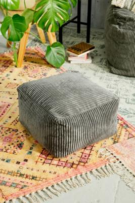 Icon Theo Charcoal Corduroy Footstool - Grey ALL at Urban Outfitters