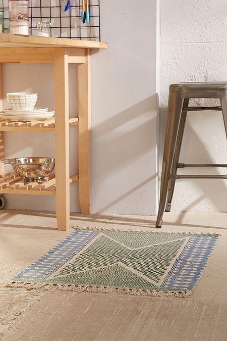 Tapis calisa 2x3 à motifs blocs vert