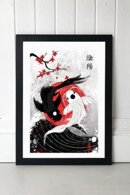 RubyArtWork Koi Fish Wall Art Print - Black 2 at Urban Outfitters