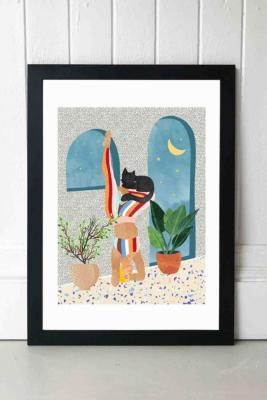 83 Oranges Headstand Wall Art Print - Black 2 at Urban Outfitters