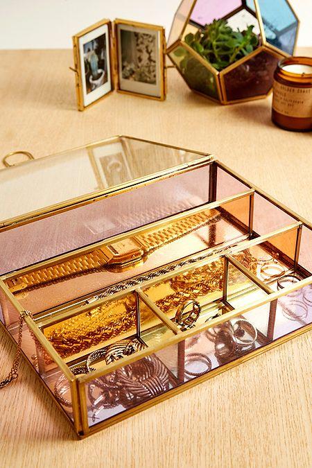 Boîte à bijoux en verre coloré