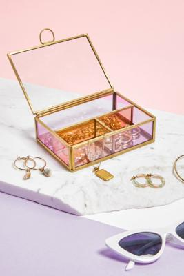 Mini Coloured Glass Jewellery Box - Pink ALL at Urban Outfitters