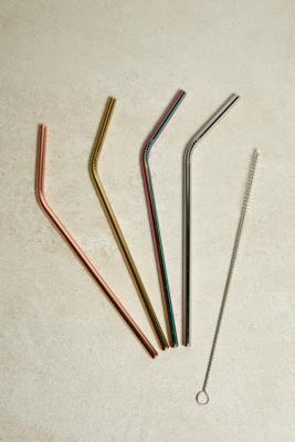 Set Of 4 Coloured Stainless Steel Straws by Urban Outfitters