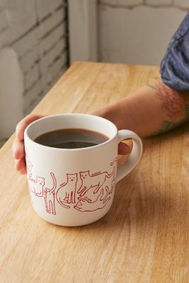 Cat Print Mug by Urban Outfitters
