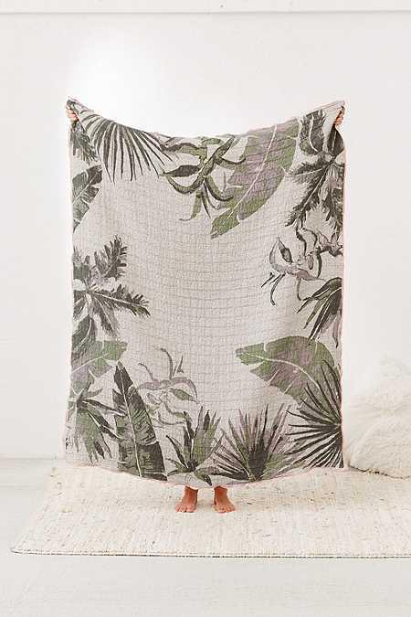 Couverture en jacquard tissé imprimé palmiers