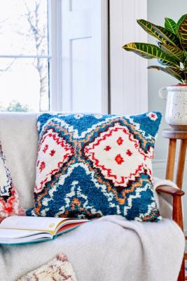 Emira Shag Throw Cushion - Blue ALL at Urban Outfitters
