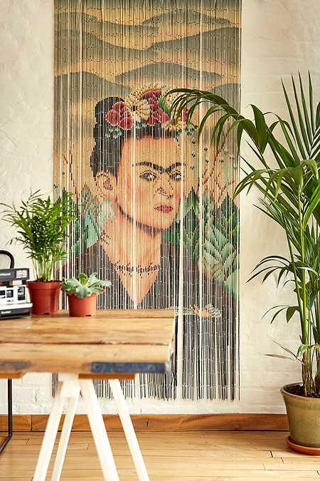 Boho printed bamboo beaded curtain