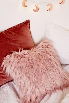 Pink Faux Fur Throw Cushion by Urban Outfitters