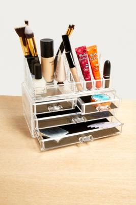 Image of 16-Compartment + 4 Drawer Cosmetics Organiser, clear