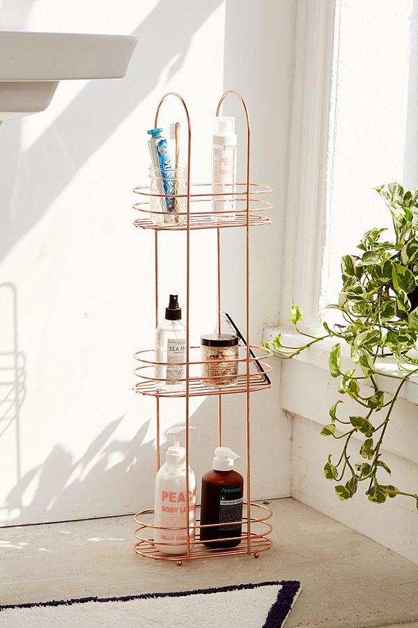 Minimal Rose Gold Standing Bathroom Storage Rack Urban Outfitters Uk