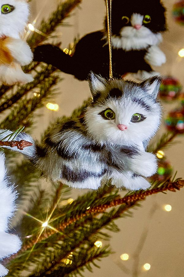 Weihnachtsschmuck in flauschigem Katzendesign | Urban Outfitters DE
