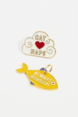 Wild & Woofy Cat Crazy Pin Badge & Tag Set - Assorted ALL at Urban Outfitters