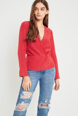 Cooperative by Urban Outfitters - Urban Outfitters Printed Wrap V-Neck Blouse, Red