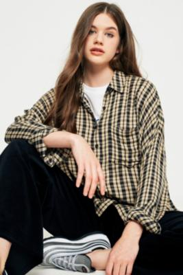 Cooperative by Urban Outfitters - Urban Outfitters Crinkle Checked Button-Down Shirt, Black Multi