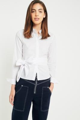 Silence + Noise - Silence + Noise Poplin Button-Down Bow-Tie Top, White