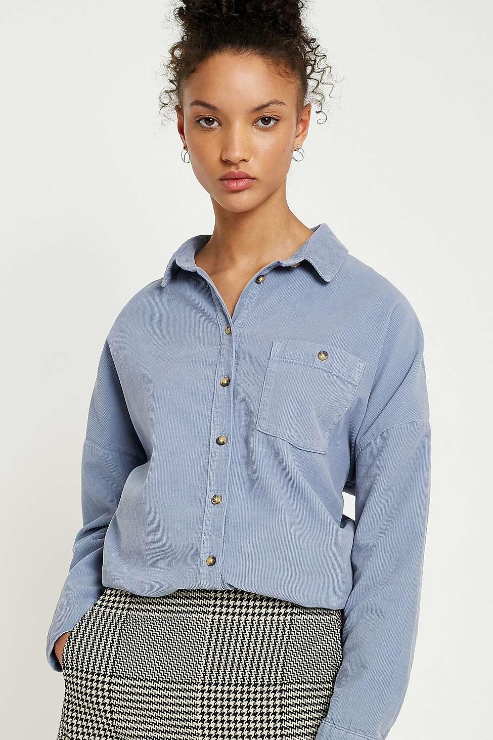 BDG Corduroy Dolman Sleeve Button-Down Shirt, Blue