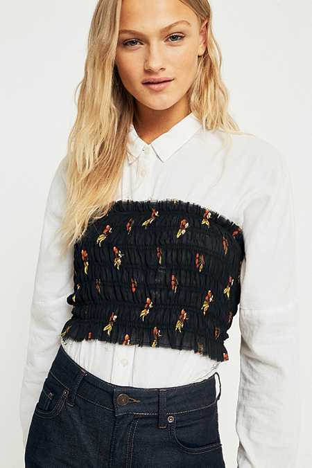 Pins & Needles Black Floral Smocked Bandeau Top