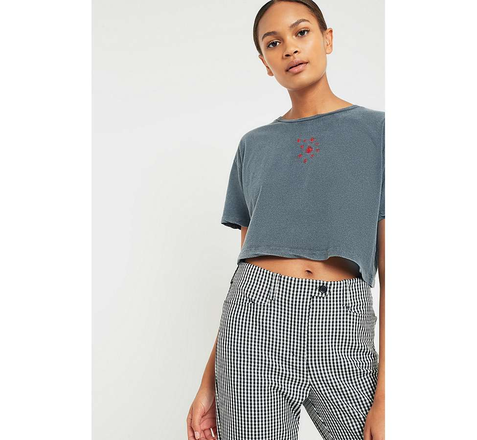 Slide View: 1: BDG Embroidered Believer Cropped T-Shirt