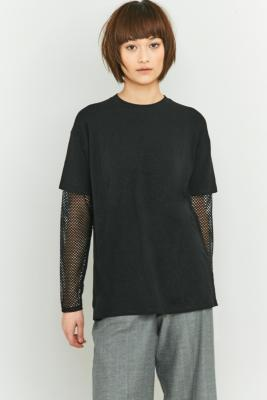 Light Before Dark Black Fishnet Layered Tshirt Black