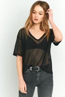 Light Before Dark - Light Before Dark V-neck Mesh T-shirt, Black