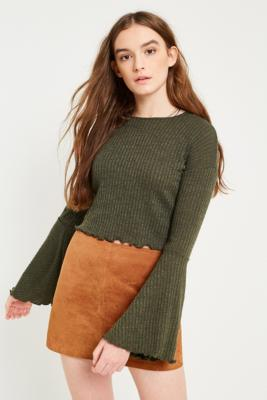 Pins and Needles - Pins  &  Needles Forest Fluted Sleeve Ribbed Crop Top, Khaki