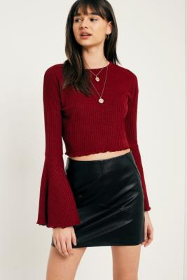 Pins and Needles - Pins  &  Needles Forest Fluted Sleeve Ribbed Crop Top, Maroon