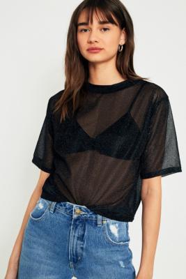 Light Before Dark - Light Before Dark Lurex Metallic Sheer T-Shirt, Black