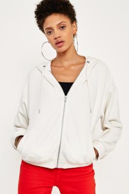 BDG - BDG Fluffy Zip-Up Hoodie, white